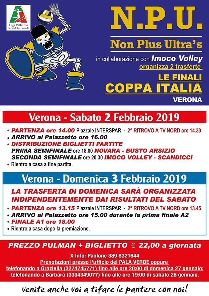 FINAL FOUR COPPA ITALIA: LE MODALITA' PER LA TRASFERTA DI SABATO E DOMENICA