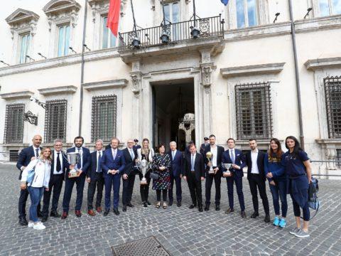 I CLUB DEL VOLLEY ITALIANO RICEVUTI A PALAZZO CHIGI. PER L'IMOCO IL PRESIDENTE GARBELLOTTO, COACH SANTARELLI E VALE TIROZZI
