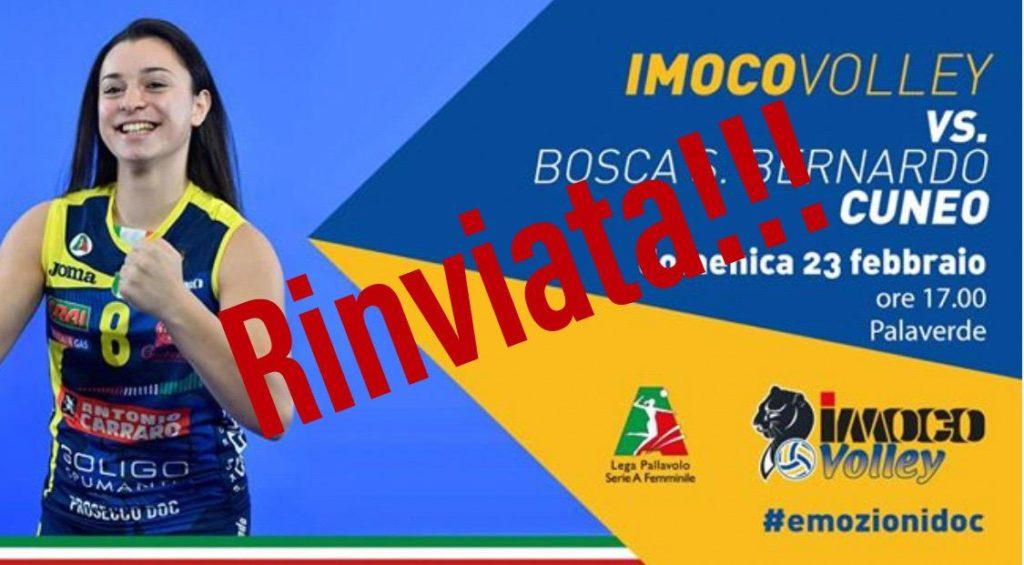 RIMBORSO BIGLIETTI IN PREVENDITA DI IMOCO-BOSCA CUNEO DEL 23/2 RINVIATA